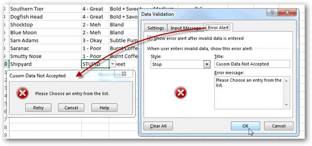 Sử dụng Data Validation để nhập liệu nhanh và tránh sai sót